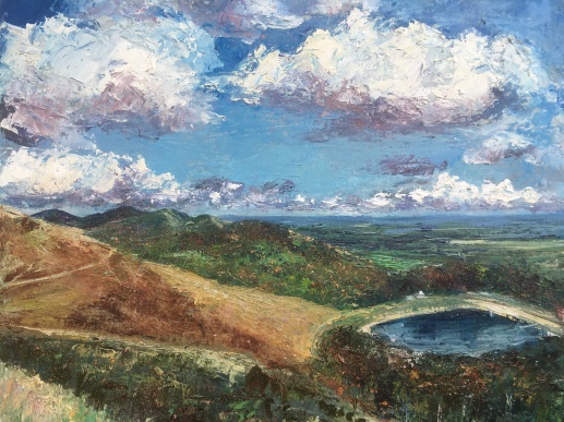 Autumn sunshine, British Camp Malvern Hills oil painting by contemporary artist Anna Cumming