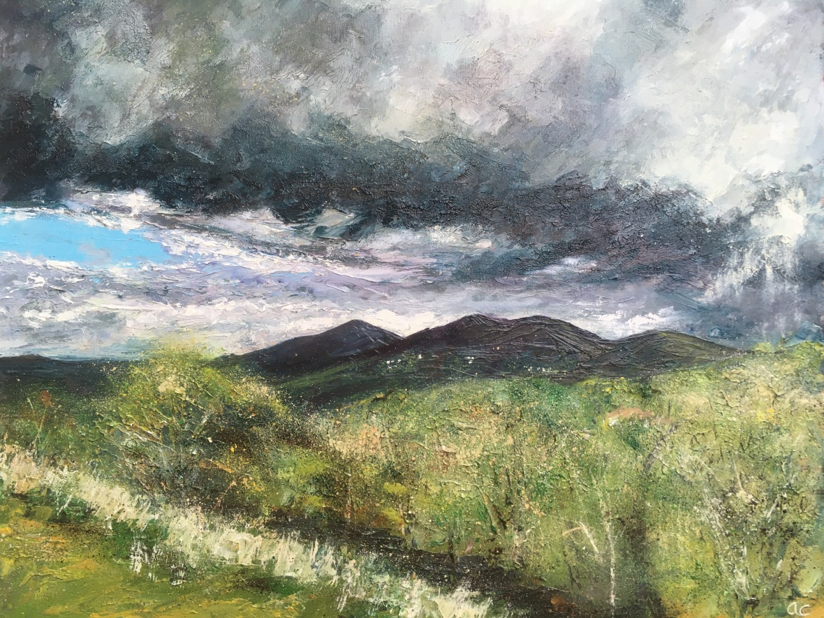 Stormy sky Malvern hills oil painting by Anna Cumming