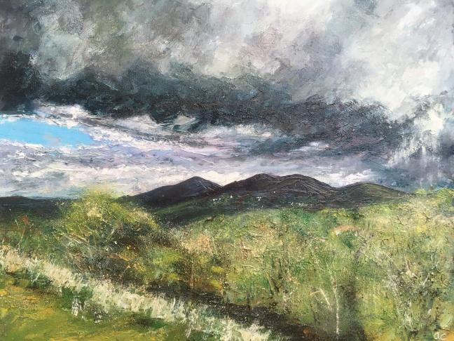 Sunshine after the rain, Malverns, 40x50cms