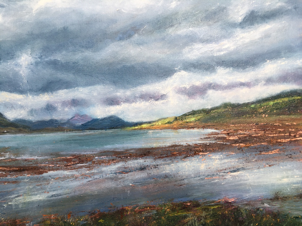 View from Dana, Mull of Kintyre oil painting by contemporary artist Anna Cummimg