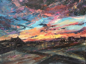 Sunrise from old schoolhouse, Embo oil painting by Anna Cumming