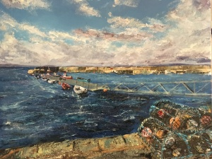 Lobster pots Portmahomack painting by Anna Cumming