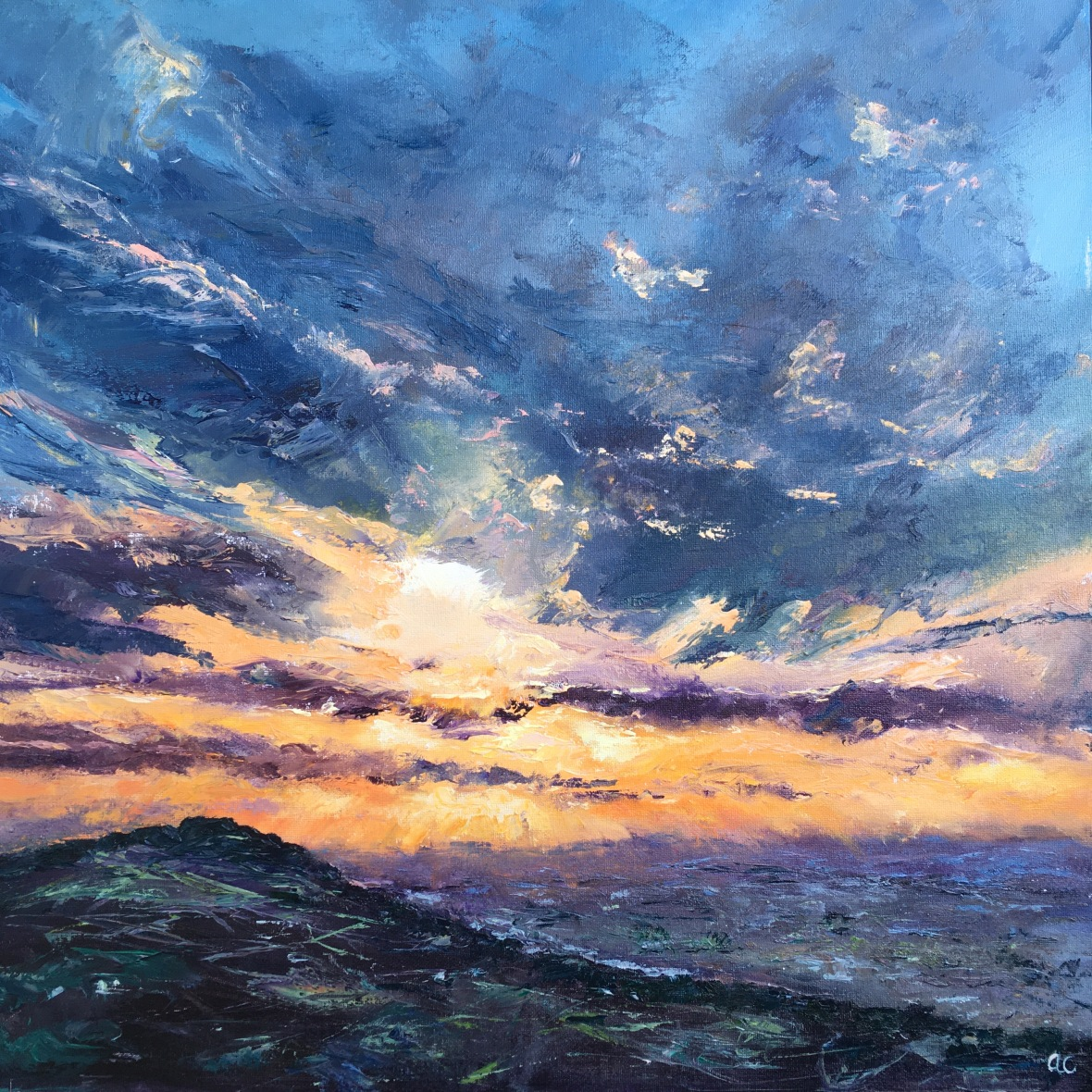 Winter sunset, British Camp Malvern hills oil painting by Anna Cummimg