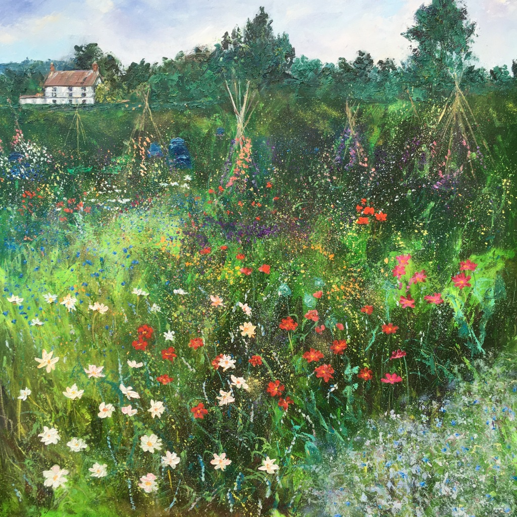 Summertime allotments oil painting by Anna Cumming