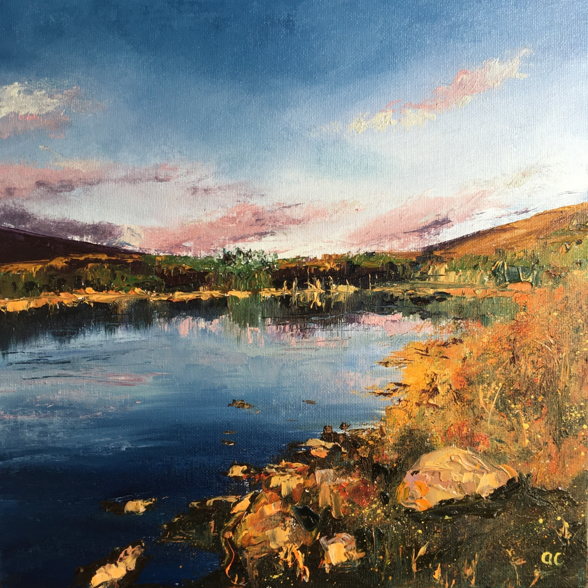 Loch Gynack oil painting by Anna Cumming