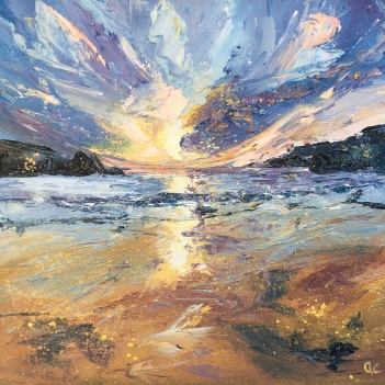 Springtime spring tide, romantic seascape oil painting by Anna Cumming