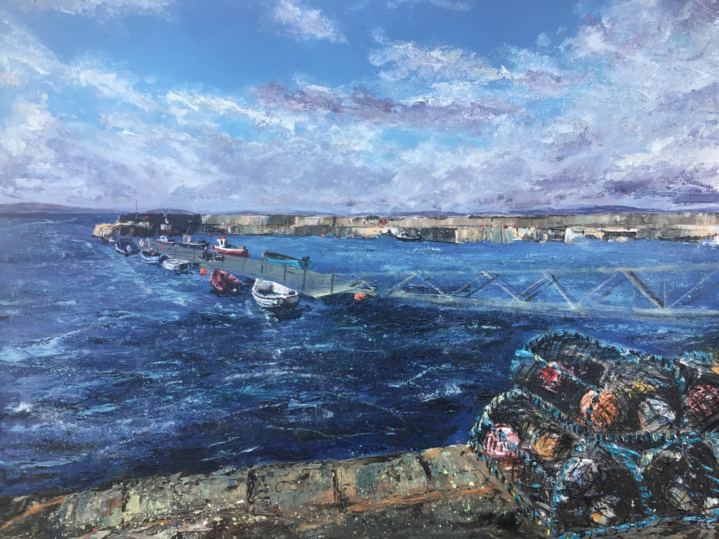 Lobster pots, Portmahomack. Oil painting by contemporary artist Anna Cummimg