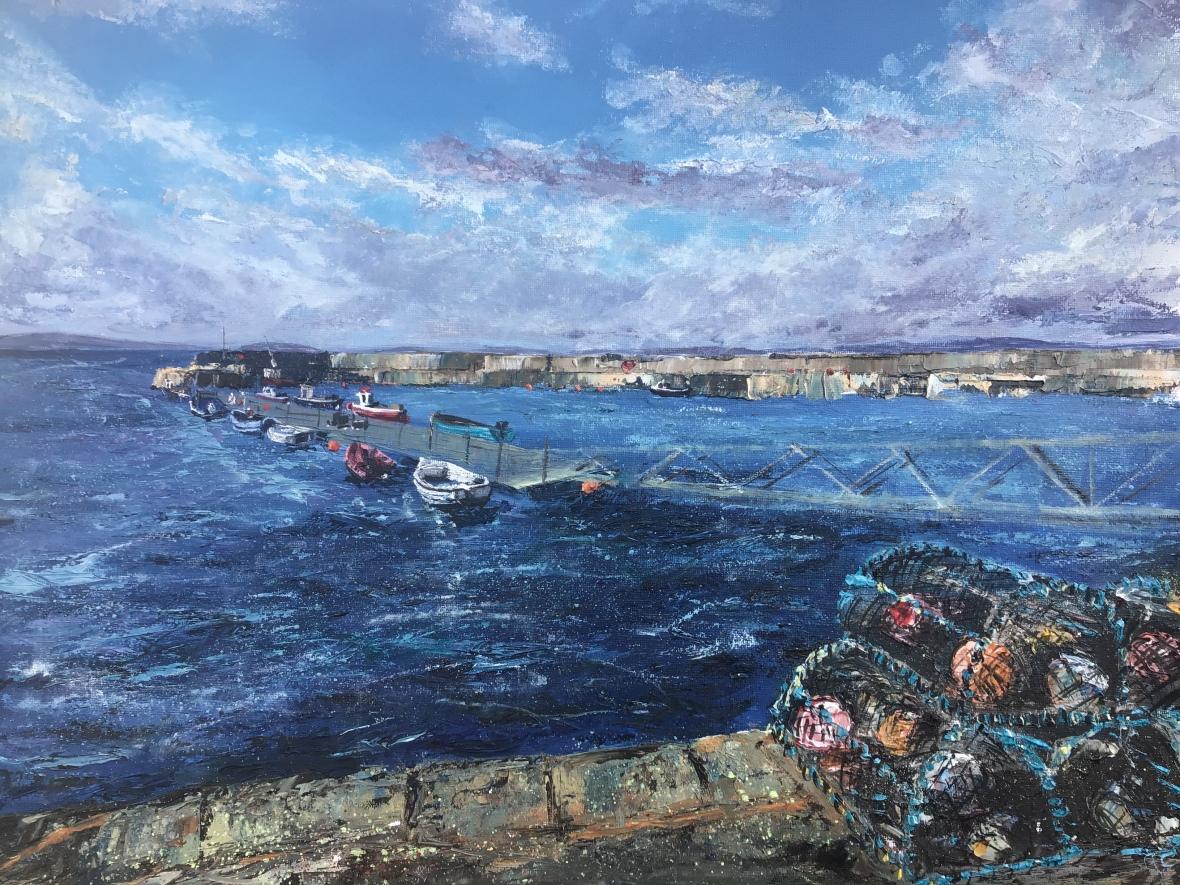 Lobster pots, Portmahomack. Oil painting by contemporary artist Anna Cummimg