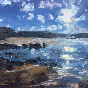 Winter sun, the havens, Pembrokeshire oil painting by contemporary artist Anna Cummimg