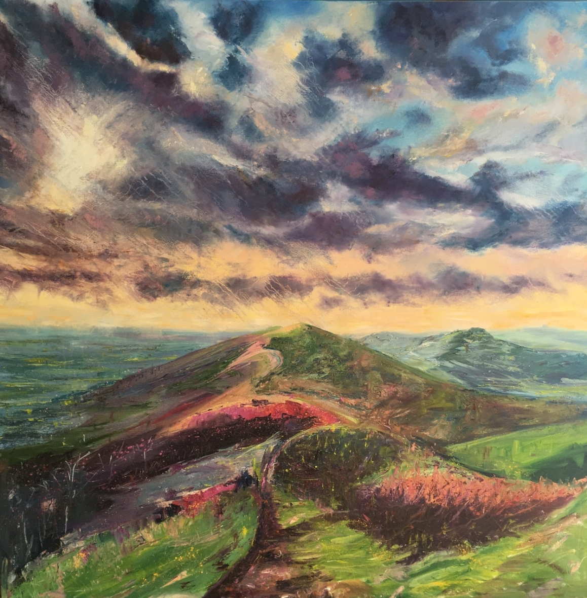 Four seasons in one day, Malvern hillls. 1m sq oil painting by contemporary artist Anna Cumming
