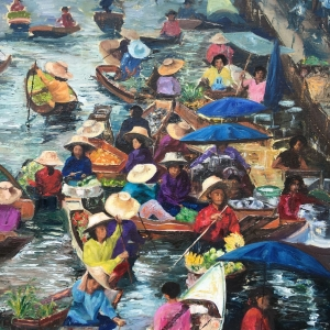 Floating market, oil painting by Anna Cumming