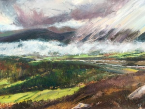 Spey valley from Creag Bheag Kingussie oil painting by Anna Cummimg