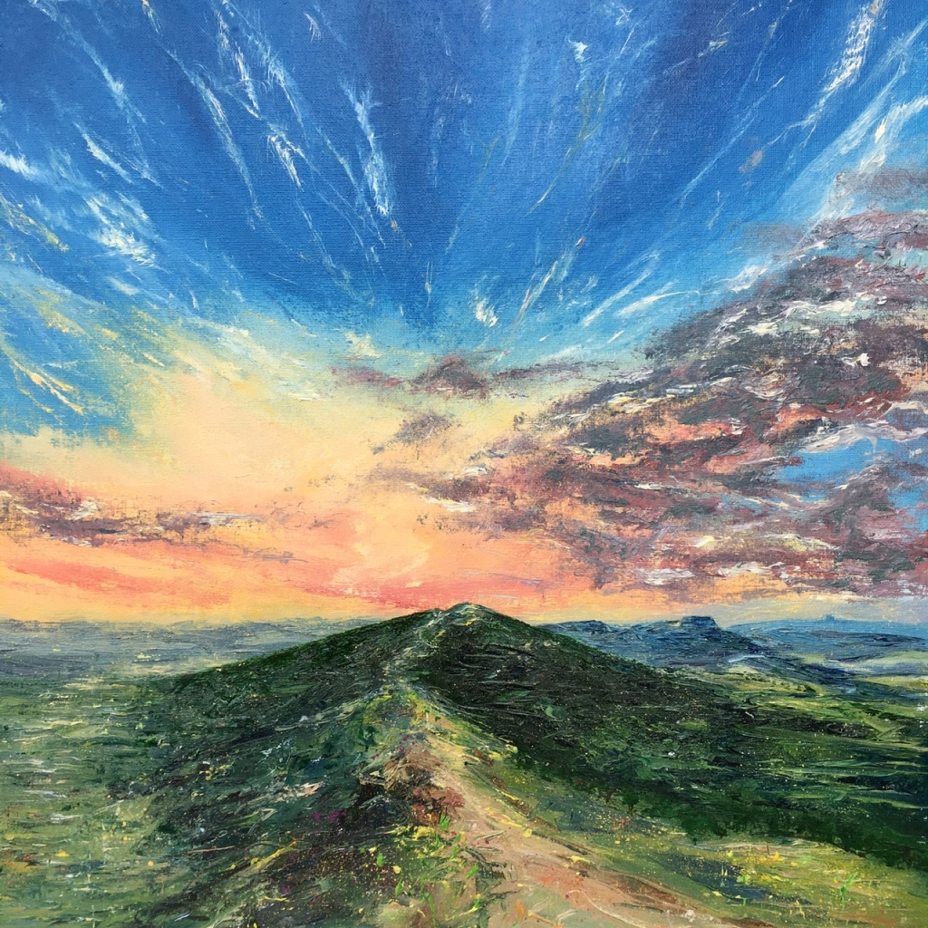Malvern hills sunset oil painting by Anna Cumming