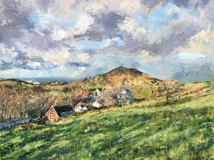 Above the Wyche Free Church, Malvern Hills. Oil painting by Anna Cumming