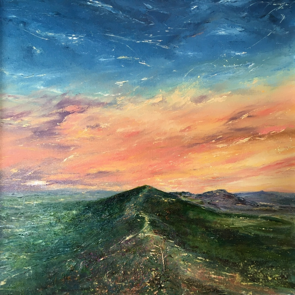 Coral Sky, Malvern hills. Oil painting by contemporary artist Anna Cummimg