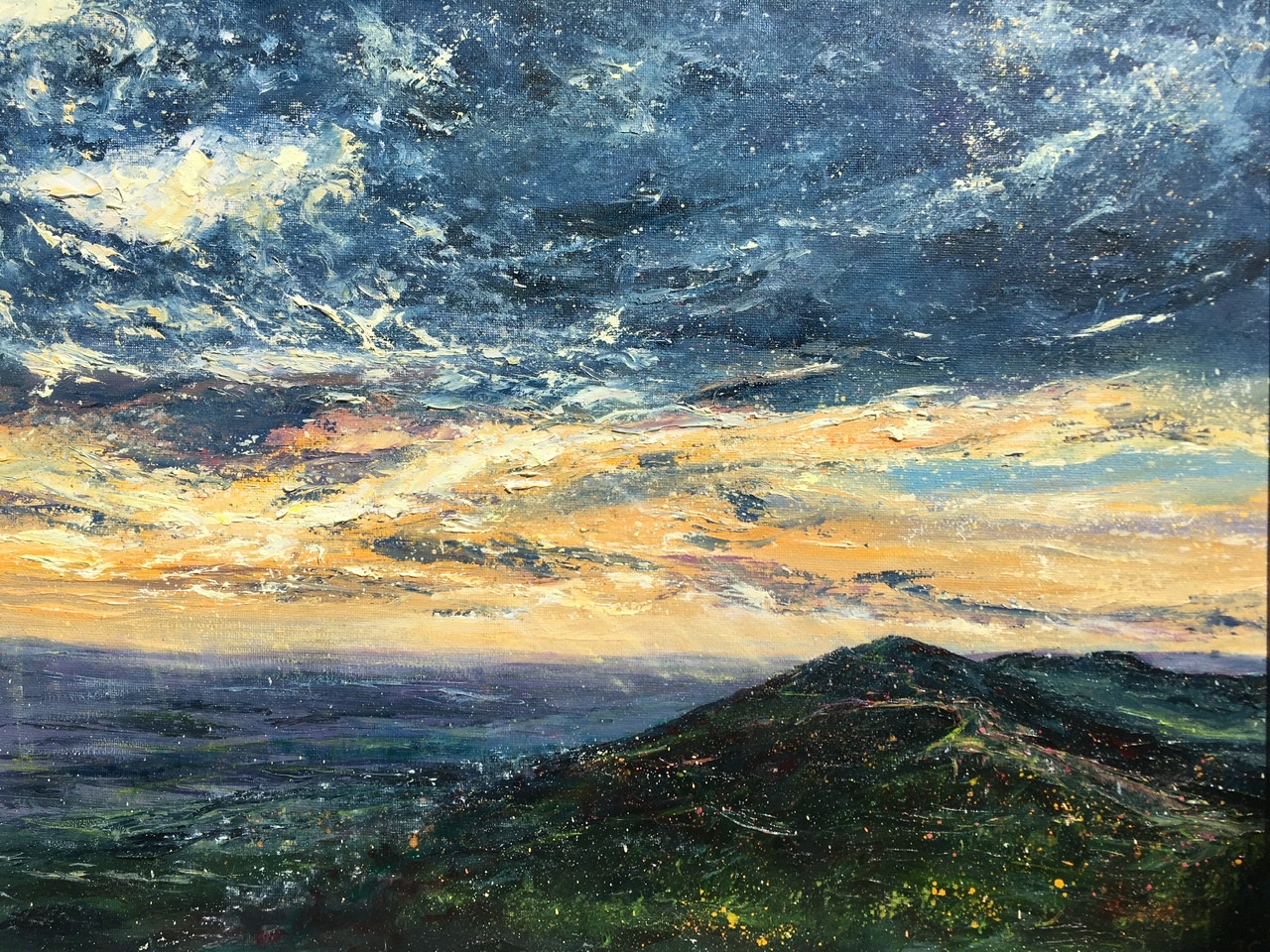 Malvern hills autumn sunrise. Original oil painting by Anna Cummimg