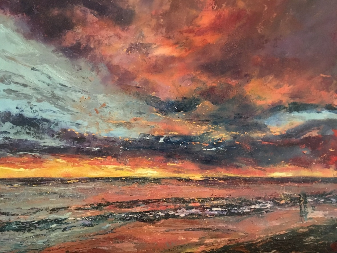 Lingering sunset, oil painting by Anna Cumming