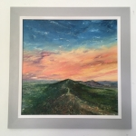 Coral sky, Malvern hills, framed oil painting by Anna Cumming