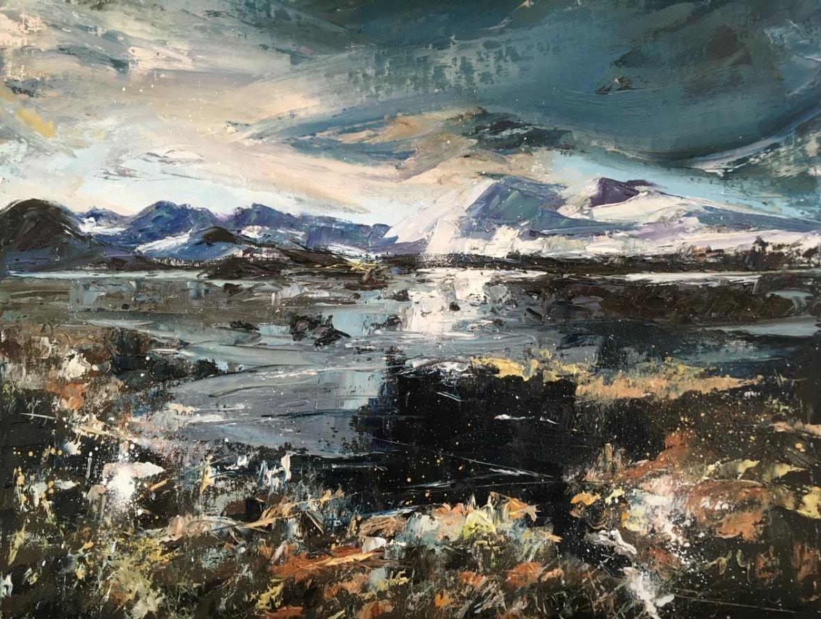 Rannoch Moor, mid winter. Looking towards Corrie Ba. original oil painting by Anna Cumming
