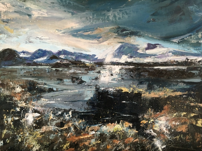 Rannoch Moor, mid winter. Looking towards Corrie Ba. original oil painting by Anna Cumming