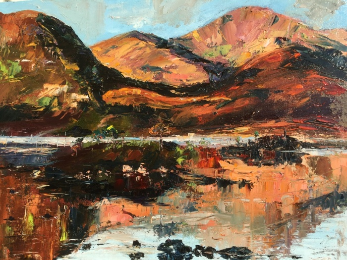 Red hills reflections. An abstracted original oil painting, by Anna Cumming