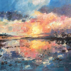 """Keeping faith"", an expressive oil painting by a Anna Cumming, of a beautiful sunset reflected in water. Based on Loch Rannoch."