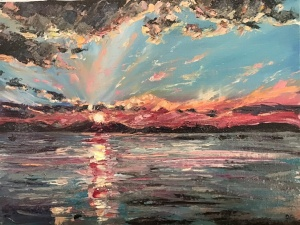 Sunset over Mull, oil painting by Anna Cumming
