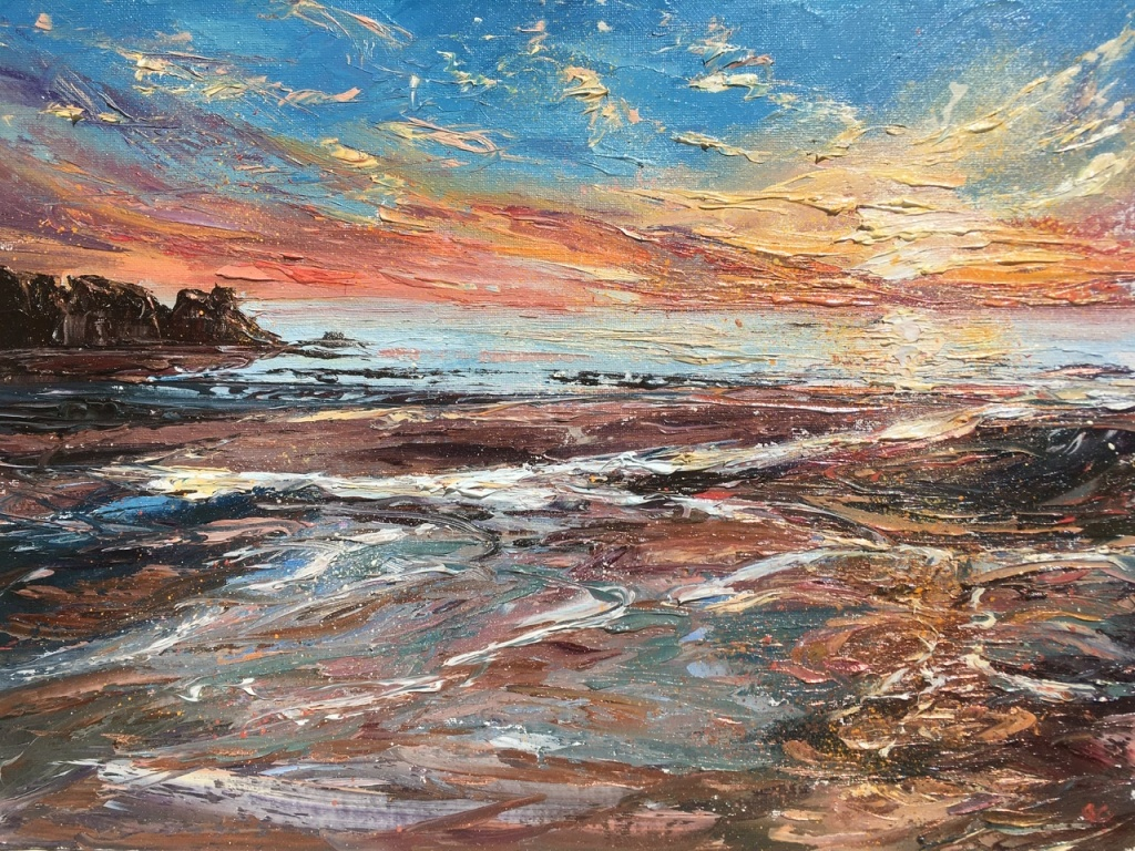 Islay sunset, 30x40cms, oil painting by Anna Cumming