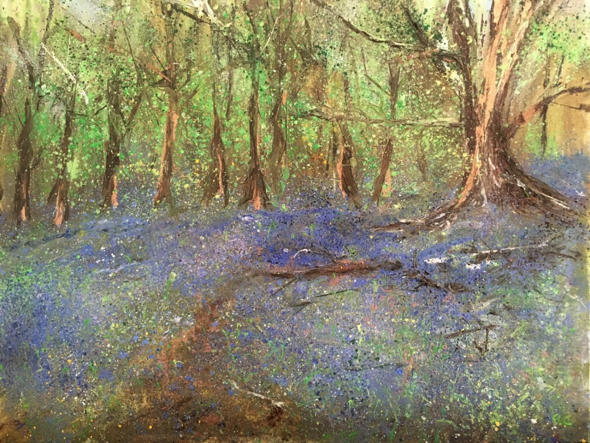 Bluebell woods, Malvern hills, oil painting by Anna Cummimg