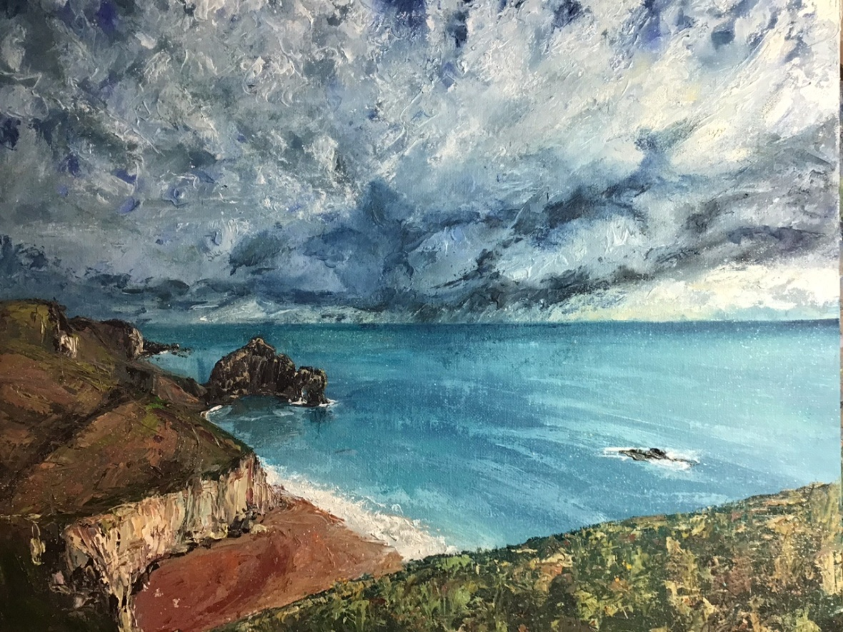 Durdle Door, oil painting by Anna Cumming