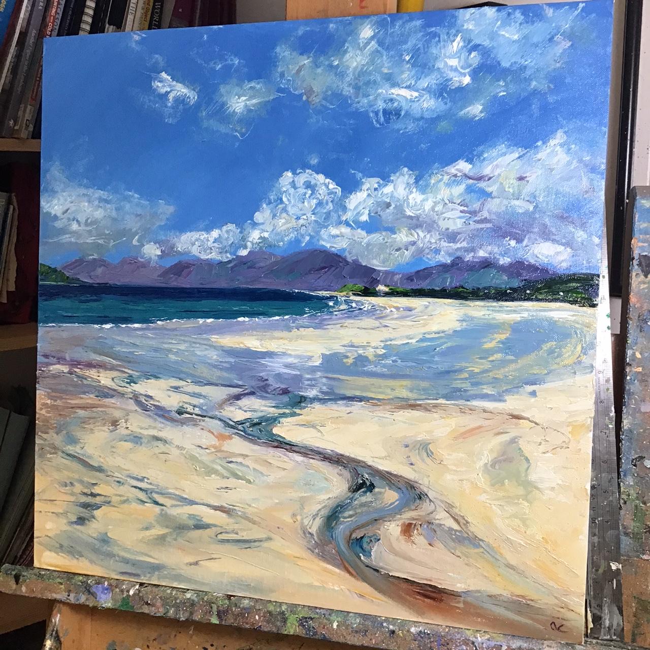Luskentyre, Harris, oil painting by Anna Cumming