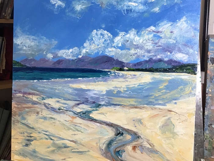 Luskentyre, Harris, oil painting by Anna Cumming