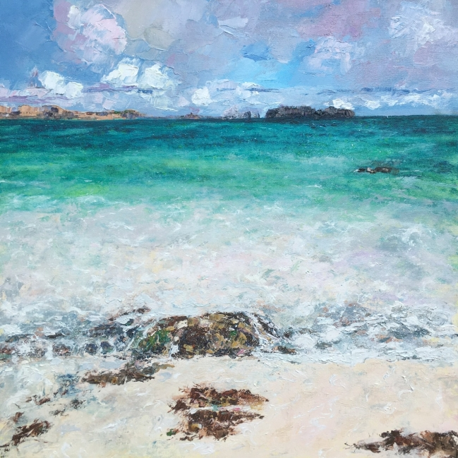 Bosta beach, Lewis, 50cm sq oil painting by Anna Cumming