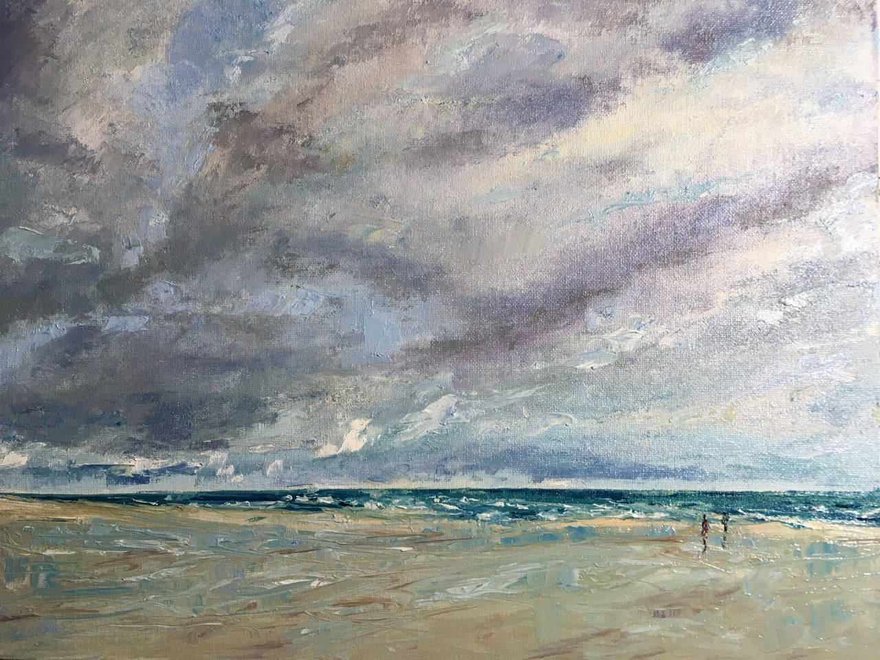 Winter day on the beach, oil painting by Anna Cumming