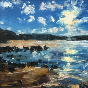 Winter sun, The Havens Pembrokeshire, oil painting by Anna Cumming