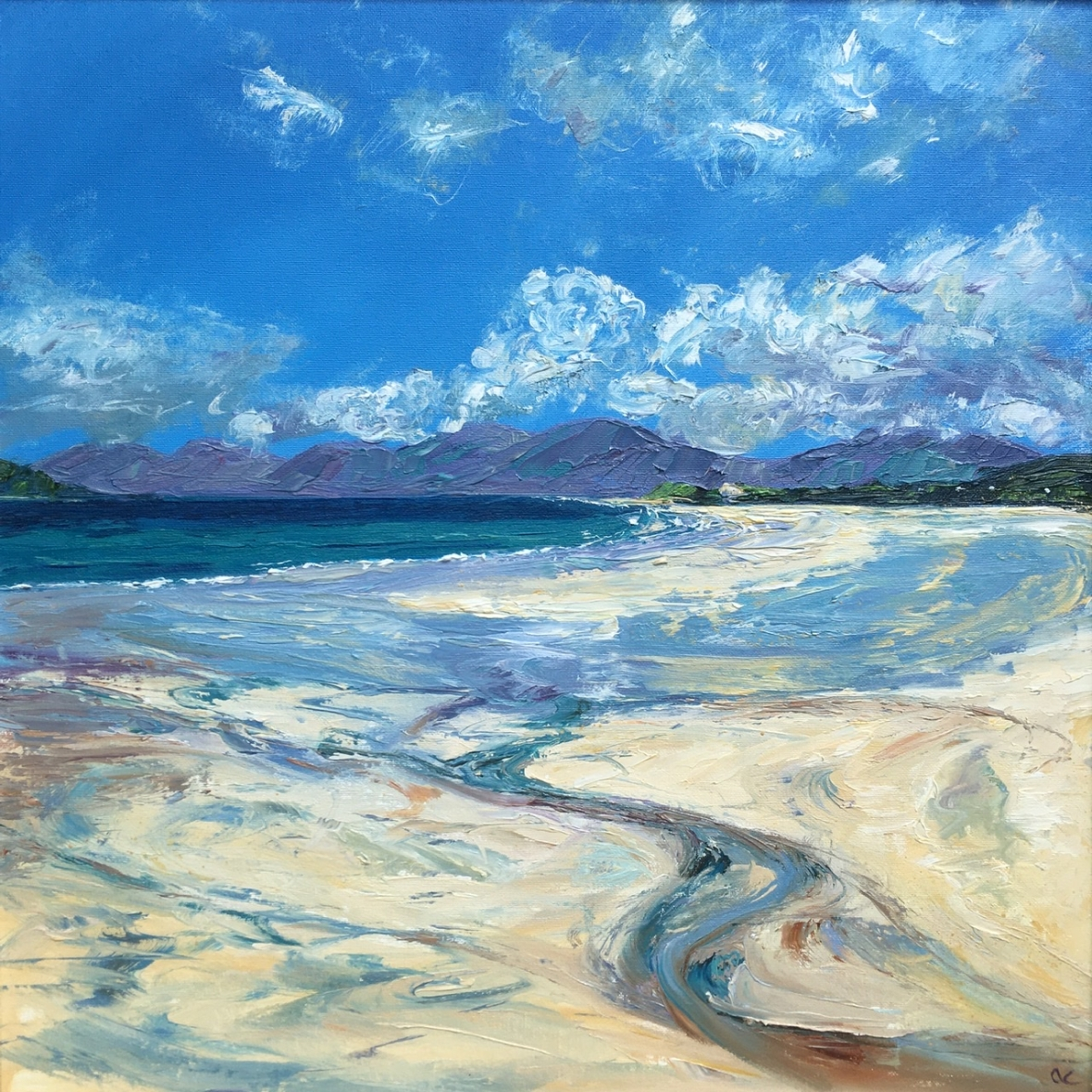Luskentyre, Harris, 50cm sq oil painting by Anna Cumming