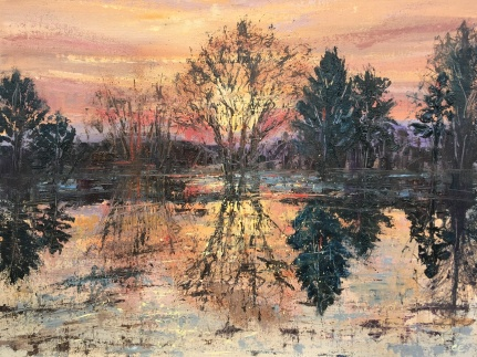 Sunset through trees, Helensburgh, oil painting by Anna Cumming