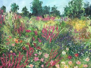 In the pink, Picton Garden, Colwall. Oil painting by Anna Cumming