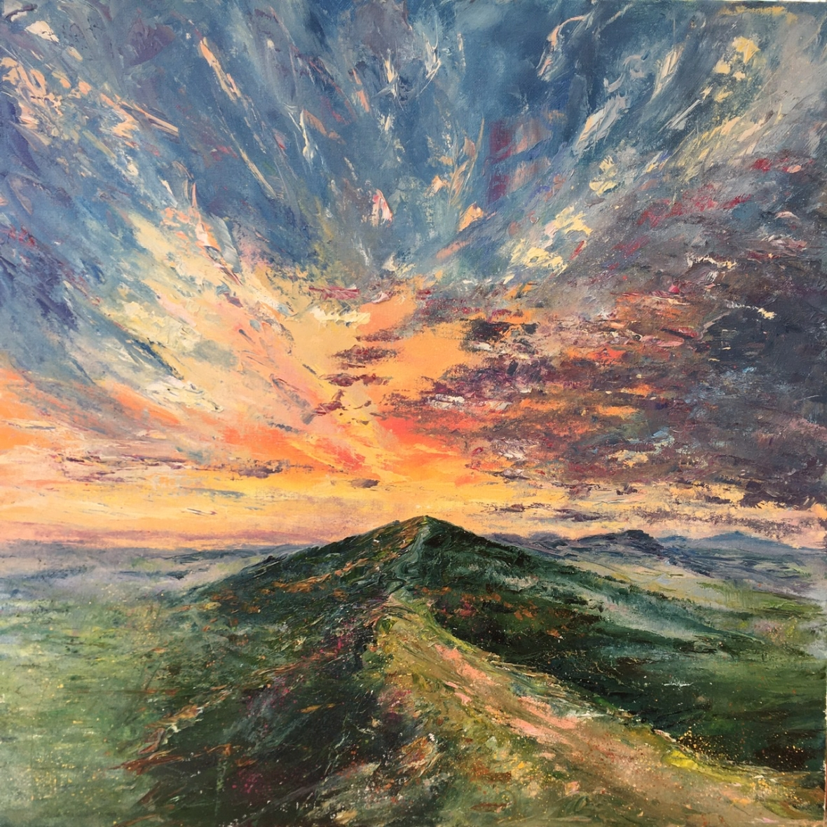 Firecracker sunset, Malverns. Oil painting by Anna Cumming