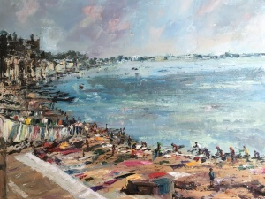 Washing drying, Varanasi. An oil painting by Anna Cumming