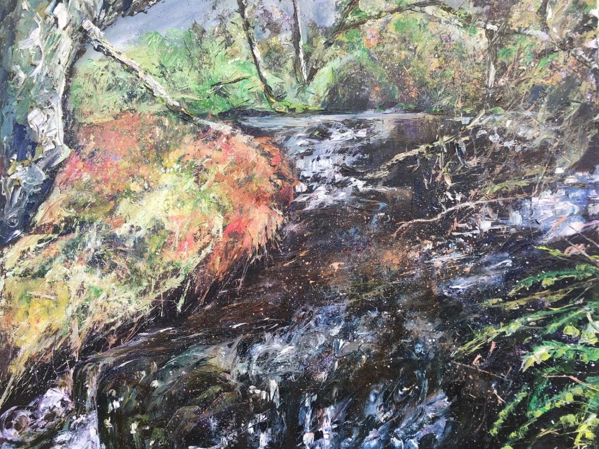 Alfie and Molly love this place! Stream on the way to Raitt's cave, Kingussie. Oil painting by Anna Cummimg