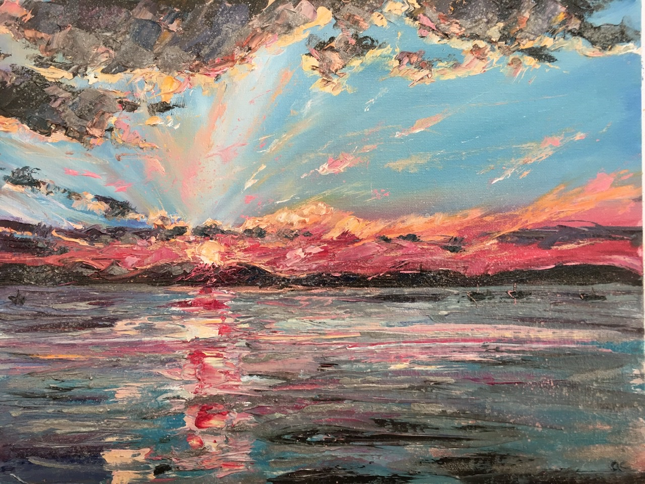 Sunset over a Mull, oil painting by Anna Cummimg