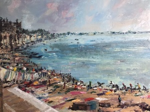Washing drying, Varanasi, an oil painting by Anna Cummimg