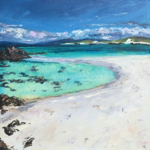 Crystal clear waters, Iona. 50cm sq oil painting by Anna Cumming