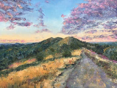 Malvern hills golden time, oil painting by Anna Cumming