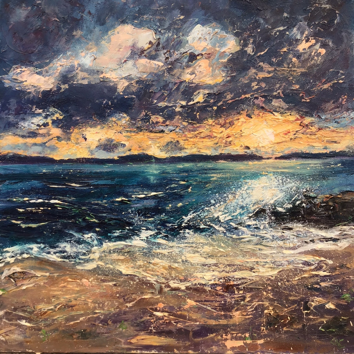 Winter sunrise Porthgwidden, oil painting by Anna Cumming