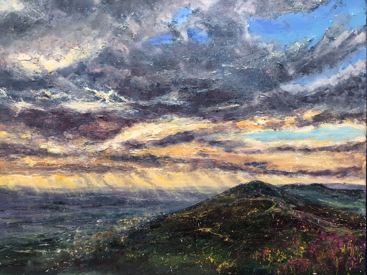 Dawn, Worcestershire Beacon, oil painting by Anna Cumming