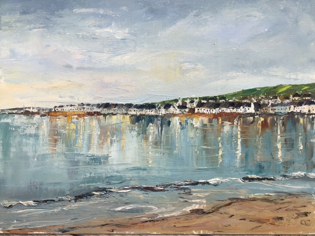 Winter solstice Portmahomack, oil painting by Anna Cumming