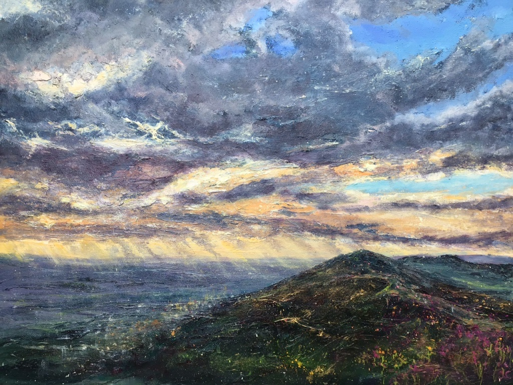 Waking up to a new day, Malvern hills, oil painting by Anna Cumming