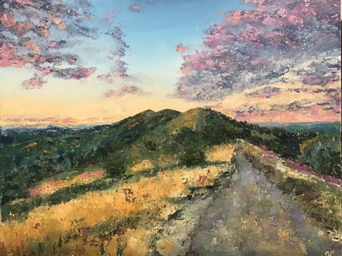 Malverns looking North, oil painting by Anna Cummimg